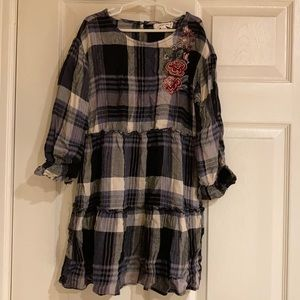 Plaid Dress with Ruffles and Roses